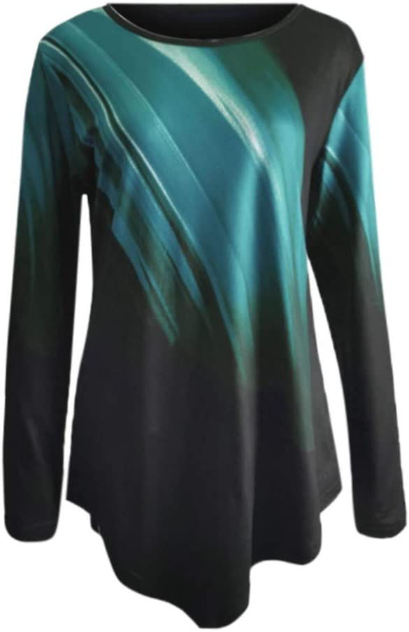 Lataw Womens Tunic Ladies Sweatshirt Fashion Tops O-Neck Long Sleeve Rainbow Gradient Irregular Casual Loose Blouse Clothes