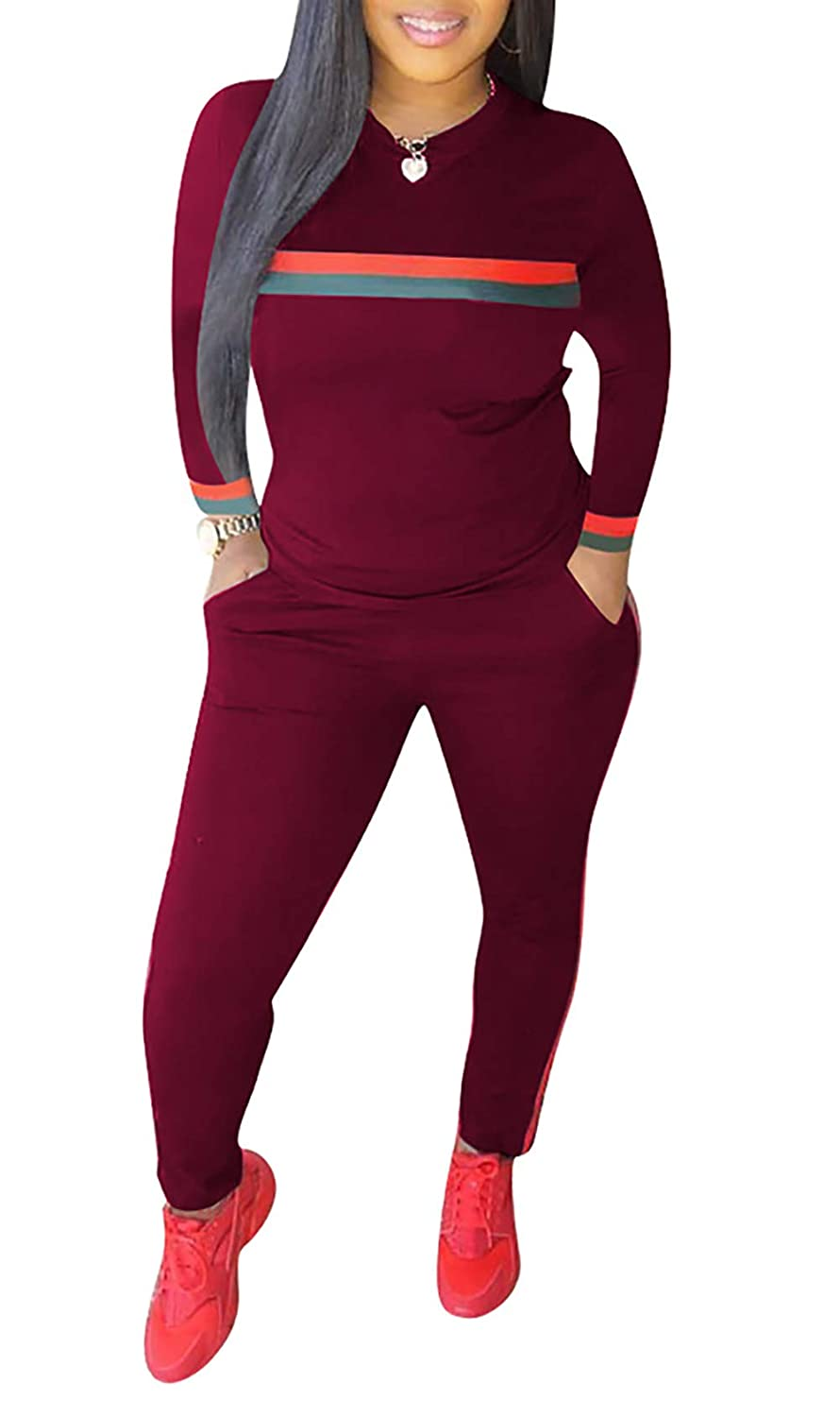 1b9ee9821a08 Amazon.com: Womens Casual Long Sleeve Bodycon Tops Sweatsuits Long Skinny  Pants Set Tracksuits Two Piece Outfits Plus Size: Clothing