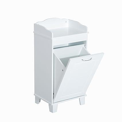 Cuarto de baño Hamper Madera lavandería Out de inclinación cesta ...