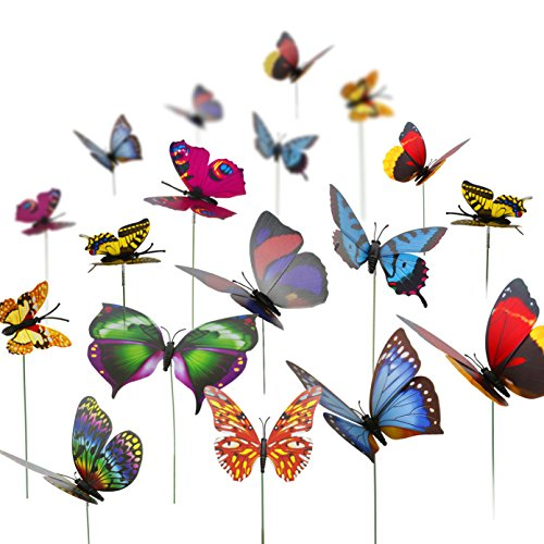 Teenitor Decorative Garden Stakes, 40pcs 12cm Butterfly Garden Stakes Garden Stake Decor Butterflies Stakes For Outdoor Yard Christmas Decorations