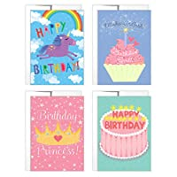 Birthday Cards for Girls | 4 Birthday Cards with Envelopes | Unicorn Birthday Card | Princess Birthday Card