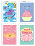 Tiny Expressions Girls' Birthday Card 4 Pack, Princess Birthday Card, Unicorn Birthday Card, Cupcake Birthday Card (4 Pack)