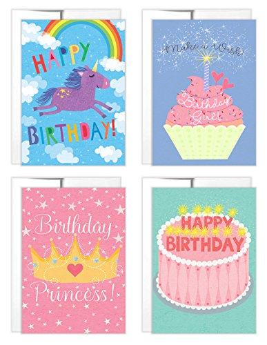 Birthday Cards for Girls | 4 Birthday Cards with Envelopes | Inside Birthday Messages | Unicorn Birthday Card | Princess Birthday Card - Girl Birthday Card