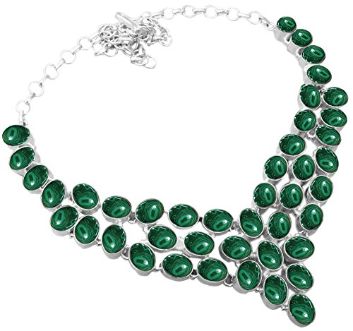 Genuine Malachite 925 Silver Overlay Handmade Fashion Necklace Jewelry