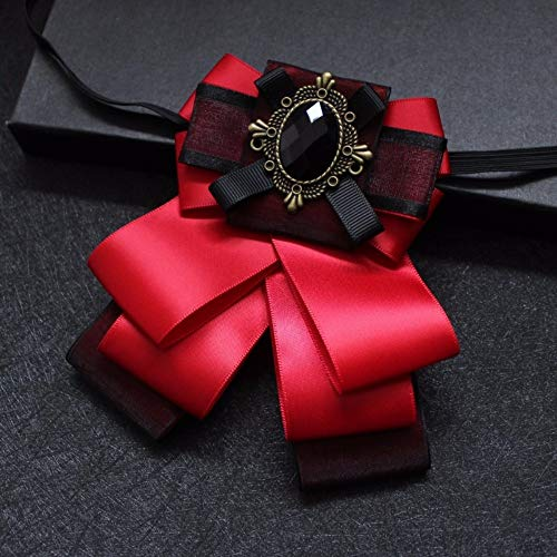 Cameo Flower Fabric Rhinestone Pins and Brooches Vintage Luxury Badge Cravat Broche for Men Red ()