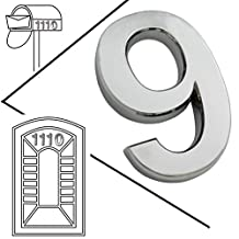 Magicdo® Small Silver Modern Mailbox number, modern house numbers sticker, 3D metal shining reflective number, Self Stick number, floating appearance number, house number signs vinyl number (9, Silver)