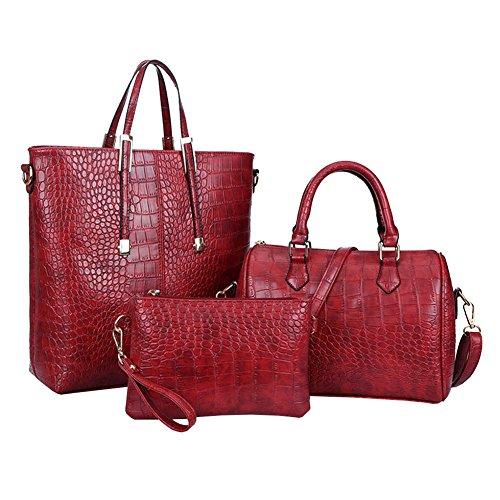M for 3Pcs Shoulder Handbag Satchel Women Purse Set Red Fashion Bag amp;A r48qvFpw1r