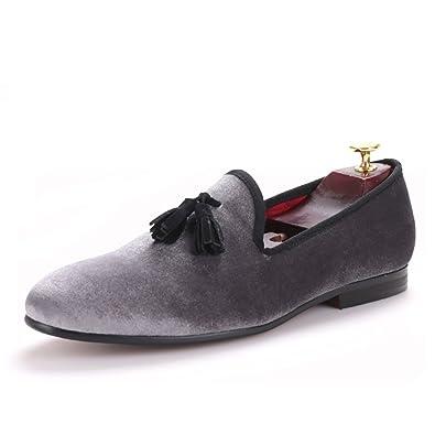 HI HANN Handmade Loafers Gray Velvet Men Shoes with Black Suede Tassel  Slip-on Smoking Slipper