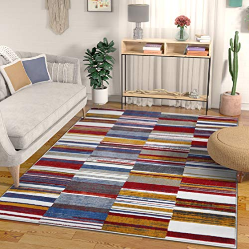 Well Woven Voyage Multi Red Blue & Yellow Modern Geometric High-Low Pile Area Rug 5x7 (5'3