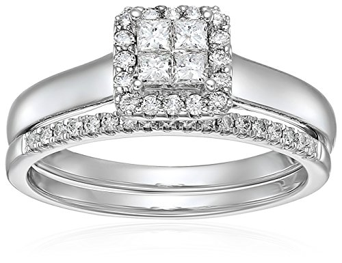 10k White Gold Diamond Quad Halo Bridal Wedding Ring Set (1/2cttw, I Color, I2 Clarity), Size 7
