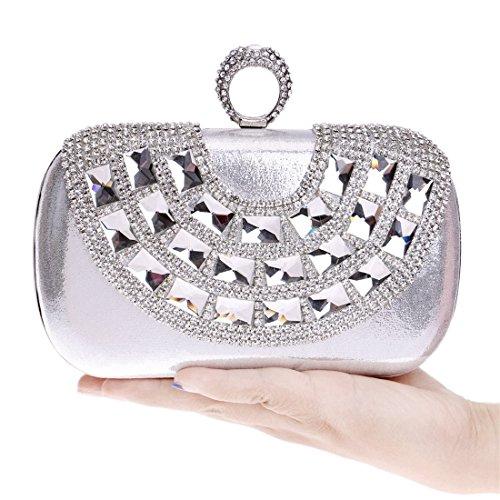 Cartera Lishihuan Lujo Las Silver Embrague De La Mujeres Bolso Partido Diamante Boda Monedero Del fB1qUfw