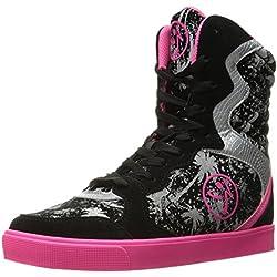 Zumba Women's Street Elevate Walking Shoe, Black/Pink, 7.5 M US