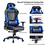 KILLABEE Big and Tall 350lb Gaming Chair - Adjustable Tilt, Back Angle and 3D Arms Ergonomic High-Back Racing Leather Executive Computer Desk Office Chair Detachable Headrest Lumbar Support, Blue