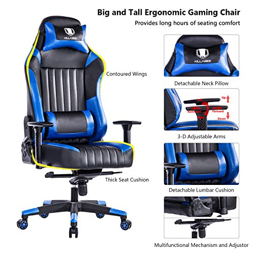 KILLABEE Big and Tall 440lb Gaming Chair - Adjustable Tilt, Back Angle and 3D Arms Ergonomic High-Back Racing Leather Executive Computer Desk Office Chair Detachable Headrest and Lumbar Support, Blue by KILLABEE