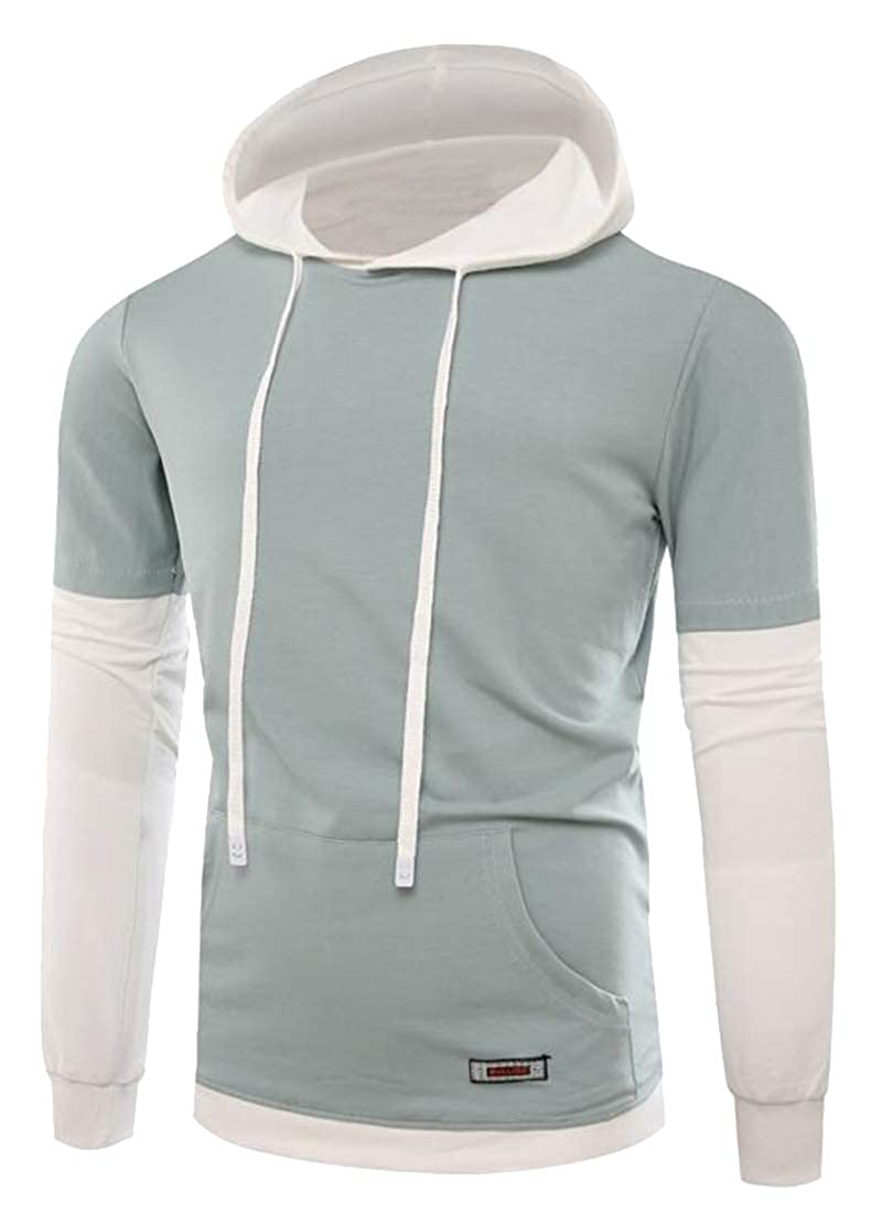 OTW Men T-Shirt Drawstring Hoodie Pockets Long Sleeve Contrast Hooded Sweatshirt