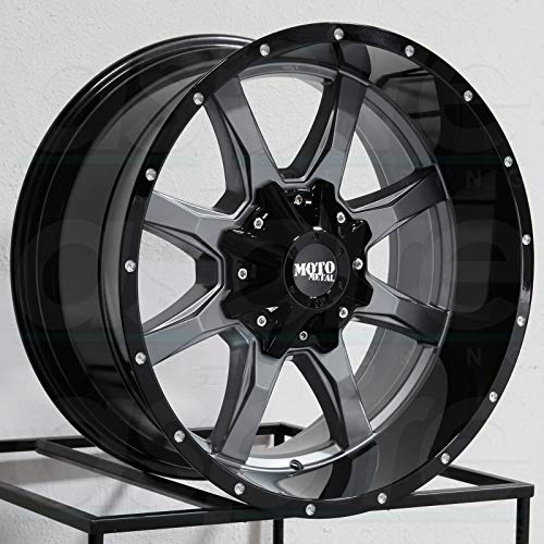 MOTO METAL MO970 Gray Center Gloss Black Lip Wheel with Painted and Chromium (hexavalent compounds) (17 x 9. inches /5 x 78 mm, -12 mm Offset) (24 Inch Rims Dodge Ram 1500)