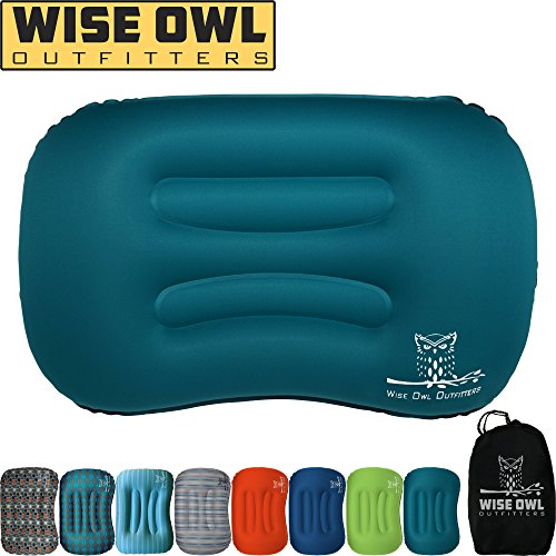 Wise Owl Outfitters Ultralight Inflatable Air Camping Pillow Compressible Compact Inflating Small Travel Pillows Sleeping Backpacking Hammock Car Camp, Beach - Smart Push Button Air Valve – Teal