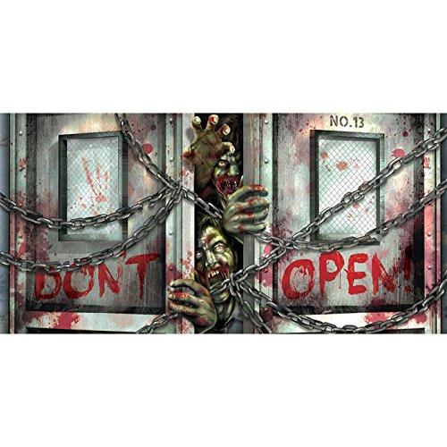 Zombie Door Decoration (Amscan Horizontal Zombie Apocalypse Plastic Banner (Pack Of 1), Multicolor, 65