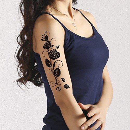 TAFLY Temporary Tattoos Black Rose Flower Vine Sexy Transfer Tattoos Body Art for Women 5 (Big Vine)