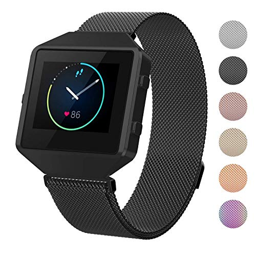 Mens Blaze (CRODI Compatible Fitbit Blaze Bands New Metal Frame, Stainless Steel Magnetic Milanese Replacement Band Fit bit Blaze Women Men)