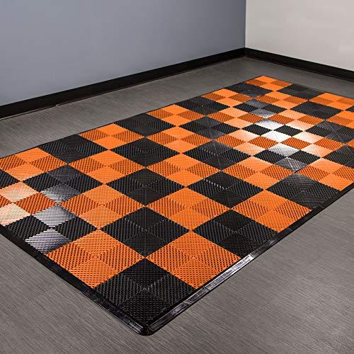 Tiles Floor Fit (IncStores Vented Nitro Tile - Motorcycle Mats (Black/Harley Orange))