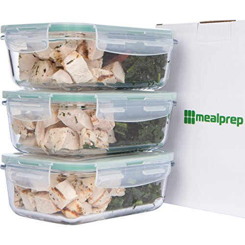 Premium Glass Meal Prep Food Storage Container 6-Piece Set with Snap Locking Lid, BPA-Free, Airtight, Leakproof, Microwave, Oven, Freezer, Dishwasher Safe (3.5 Cup, 28 Oz, Rectangle) (Oven Safe Small Glass Bowls compare prices)