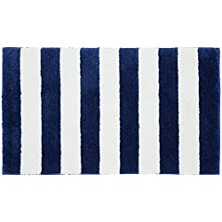 "Garland Rug Beach Stripe Bath Rug, 21"" x 34"", Indigo Blue/White"