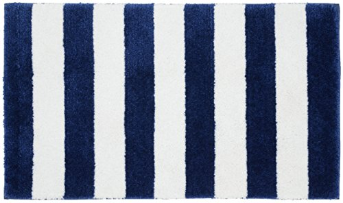 "Garland Rug Beach Stripe Bath Rug, 21"" x 34"", Indigo Blue/White"