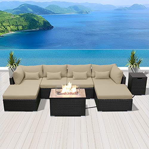 Modenzi Outdoor Sectional Patio Furniture with Propane Fire Pit Table Espresso Brown Wicker Resin Garden Conversation Sofa Set (C7 Sofa Rectangular Fire Pit, Light Beige) (Sets Fire Conversation Patio Pit Propane With)
