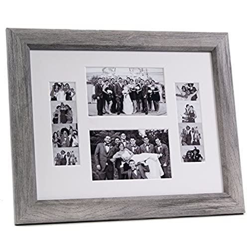 creativepf 2 46 11x14dw w driftwood event photo booth frame holds 2 4 by 6 and 2 2 by 6 inch photographs with white collage mat and stand - Driftwood Frame