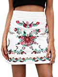 Simplee Women's Vintage Floral Embroidery High Waisted Bodycon Mini Skirt, White, 0/2, Small