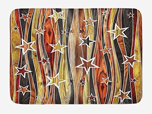 K0k2t0 Doormats Rustic Bath Mat, Vertical Wavy Stripes Oak Timber Wood Design Various Star Figures, Plush Bathroom Decor Mat Non Slip Backing, 23.6 W X 15.7W Inches, Black Pale Coffee ()
