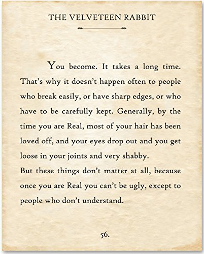The Velveteen Rabbit - You Become - 11x14 Unframed Typography Book Page Print - Great Gift for Book Lovers by Personalized Signs by Lone Star Art