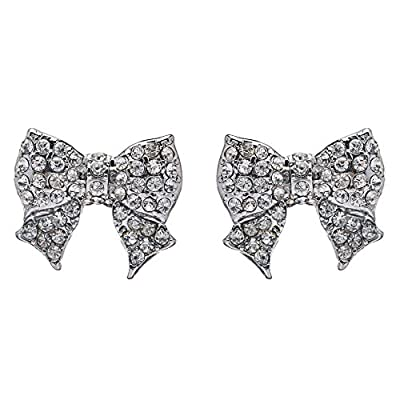 Discount Gorgeous Fashion Ribbon Bow Design Crystal Rhinestone Pave Stud Earrings Silver hot sale