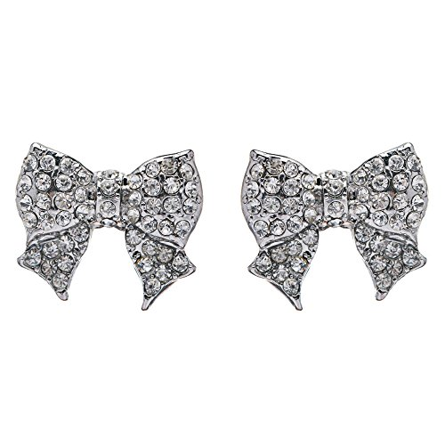 Bow Stud Earrings - Gorgeous Fashion Ribbon Bow Design Crystal Rhinestone Pave Stud Earrings Silver