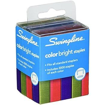 Swingline Color Bright Staples Multi Pack 025 Inch Leg Length 25 Sheet Capacity