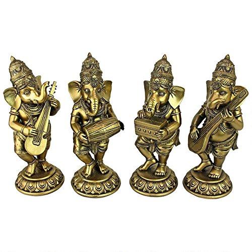 Design Toscano Musical Lord Ganesha Hindu Elephant God Statues, 7 , Antique Gold