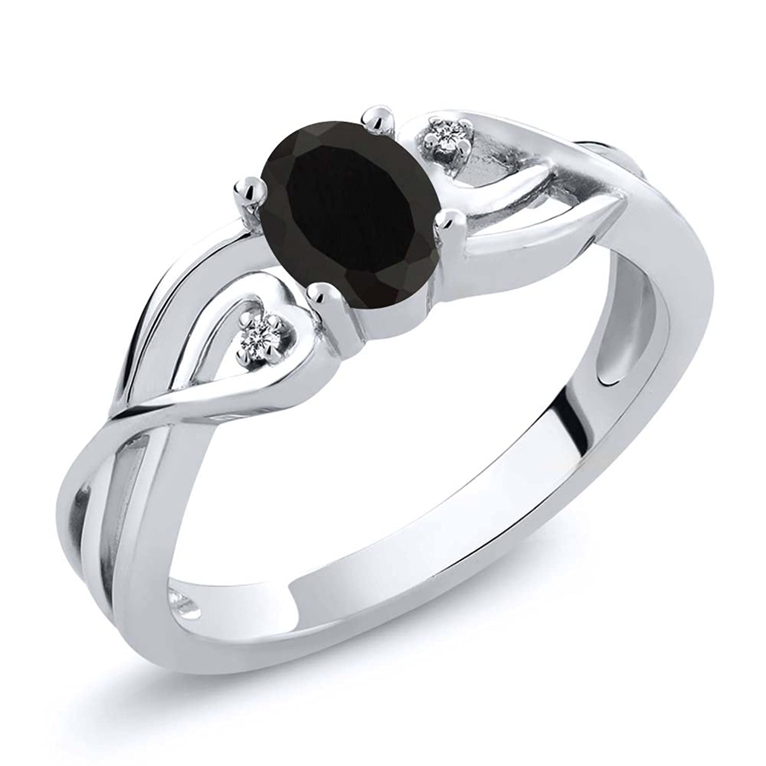0.40 Ct Oval Black Onyx White Diamond 925 Sterling Silver Ring