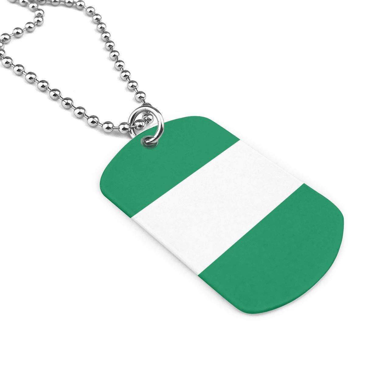 Military Necklace Flag Of Nigeria Custom Zinc Alloy Pendant Necklace Dog Tags