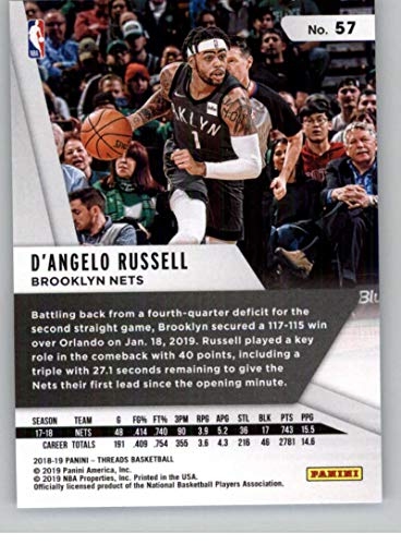 d900ed44c23aa Amazon.com: 2018-19 Panini Threads Dazzle Basketball #57 D'Angelo Russell  Brooklyn Nets Official Parallel NBA Trading Card: Collectibles & Fine Art