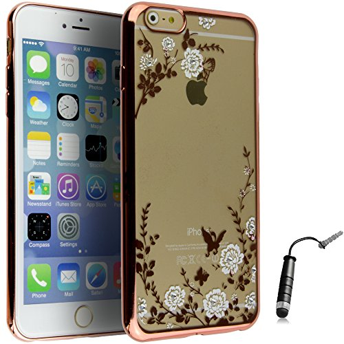Ownstyle4you - Apple iPhone 6S Coque Housse Etui PREMIUM Gel Souple TPU Stylish Flower Rose / Protection Pare-Chocs Goutte Absorption des Chocs + Protecteur d'écran + Pen