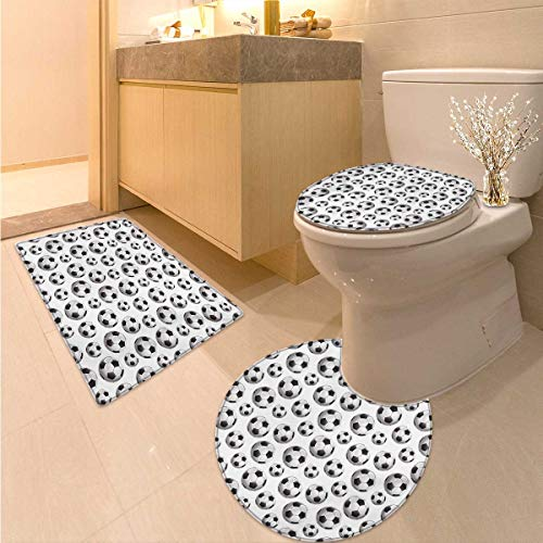 Boys Room Toilet Rug and mat Set Pattern with Vivid Graphic Soccer Balls Sports Icon Athletics Hobbies 3 Piece Bathroom Contour Rugs Charcoal Grey White by Anhuthree