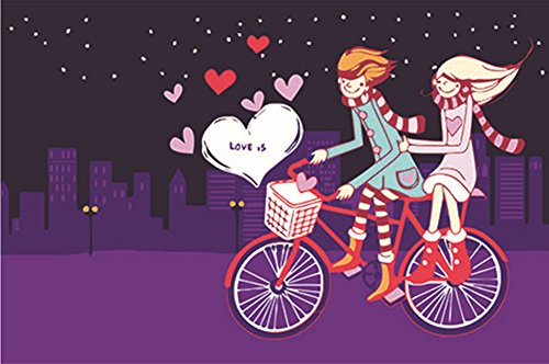 Diy Oil Painting, LittleBear Museumarts Paint By Number Kits for Adults Kids - Romantic Love of Bicycle 30X40cm Linen Canvas