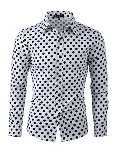 uxcell Men Black White Polka Dots Button-Front Textured Fitted Dress Shirt White L]()