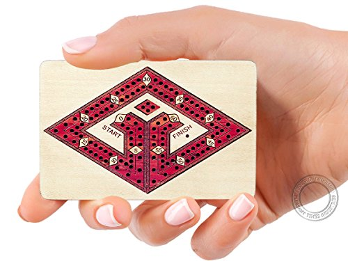 House of Cribbage - 2 Track - Wooden Travel - Pocket Size Cribbage Board - Size: 4 Inch - Maple Wood / Bloodwood - Storage Space Cribbage Pegs - 60 ()