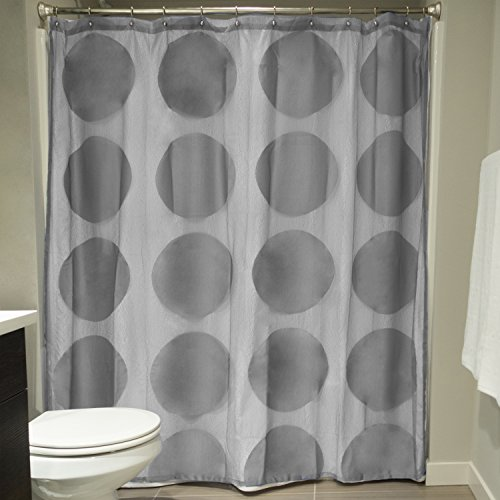 DII Oceanique Elegant, Modern Circle Lace Design, Water & Wrinkle Resistant, 100% Polyester, Machine Washable Shower Curtain, 72x72', Gray