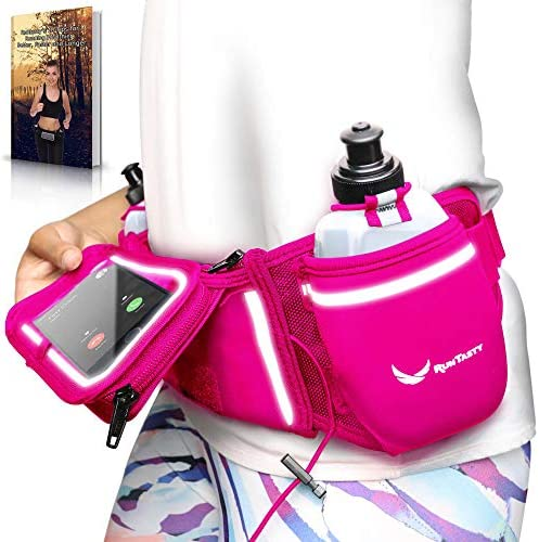 Voted No.1 Hydration Belt Winners Running Fuel Belt – Includes Accessories 2 BPA Free Water Bottles Runners Ebook – Fits Any iPhone – w Touchscreen Cover – No Bounce Fit and More