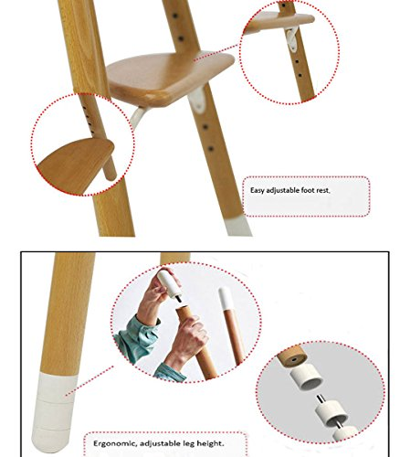 Asunflower Wooden High Chair Adjustable Feeding Baby Highchairs Solution with Tray for Baby/Infants/Toddlers by Asunflower (Image #4)