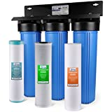 iSpring WGB32BM 3-Stage Whole House Water Filtration System w/20-Inch Big Blue Sediment, Carbon Block, and Iron & Manganese Reducing Filter