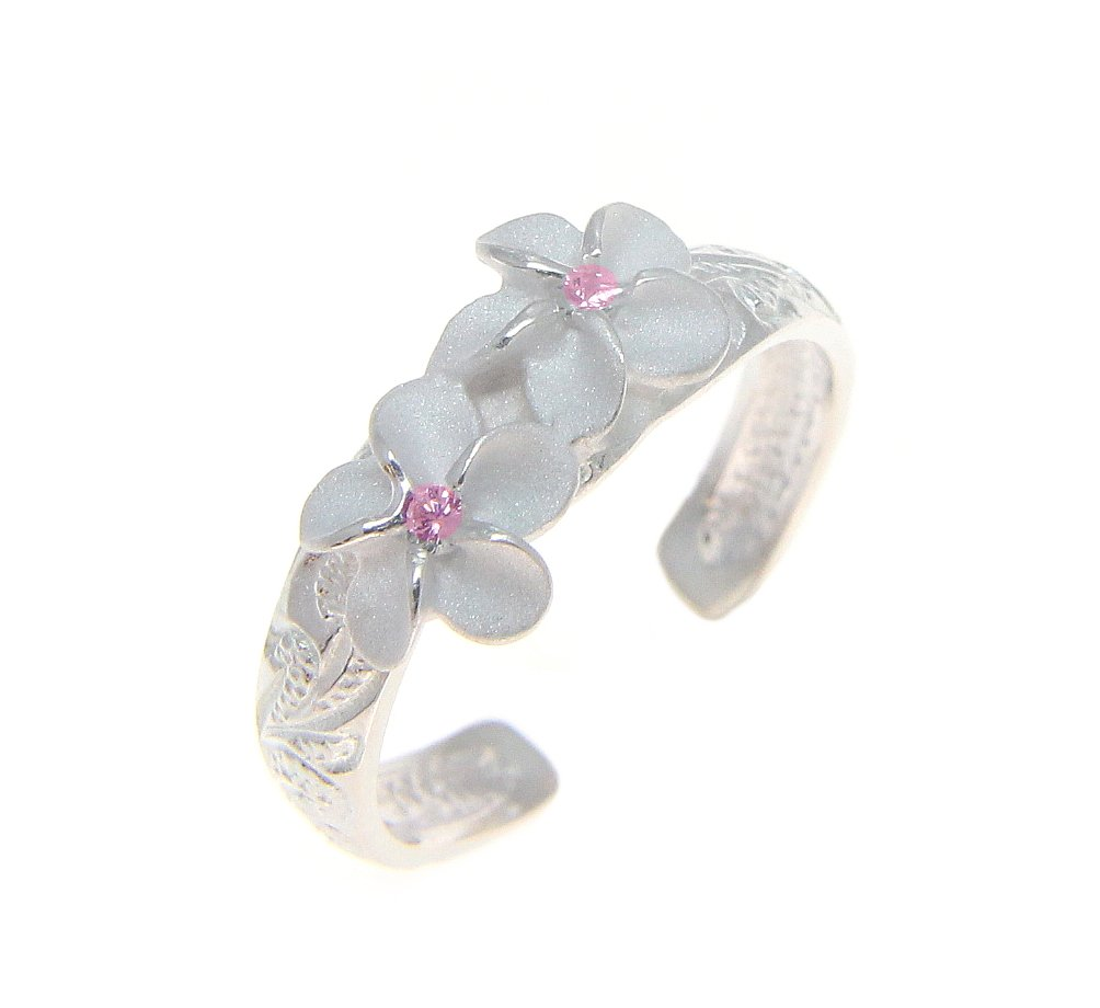 925 sterling silver Hawaiian 2 plumeria flower scroll pink cz toe ring